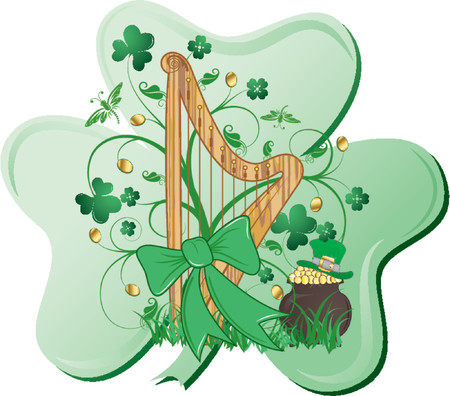St. Patricks abstract design with harp, clover, hat and cauldron Vector