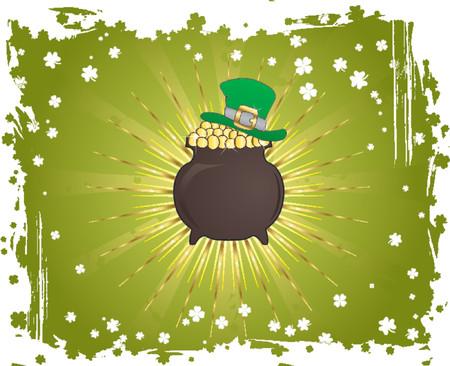 four leafed clover: Grunge D�a de San Patricio fondo con sombrero y caldero  Vectores