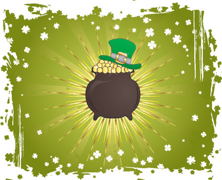Grunge St. Patricks Day background with hat and cauldron Vector