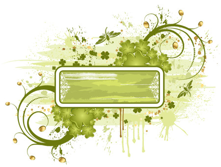 leafed: Grunge St. Patricks Day frame with coins and dragonfys, element for design, vector illustration Illustration