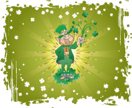 Grunge St. Patricks Day background with clover and leprechaun