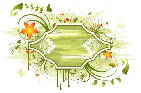 Abstract cornice floreale con farfalla, elemento per la progettazione, illustrazione vettoriale