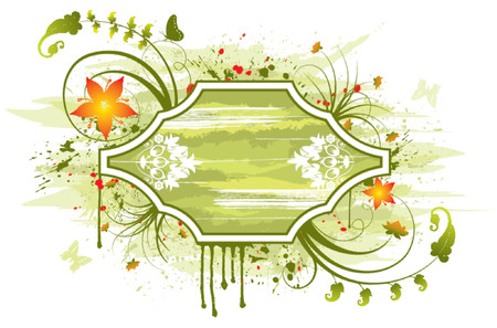 Abstract floral frame with butterfly, element for design, vector illustration