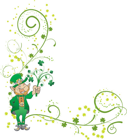 leafed: St. Patricks Day corner with clover and leprechaun