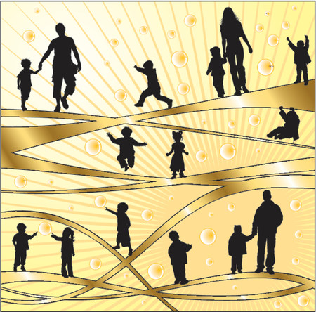 Vector silhouettes parents and children, illustration Illustration