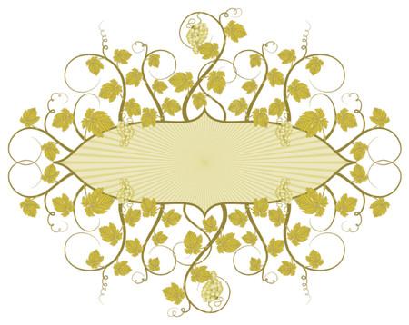 Grunge vine frame with grapes, element for design, vector illustration Stock Vector - 760176