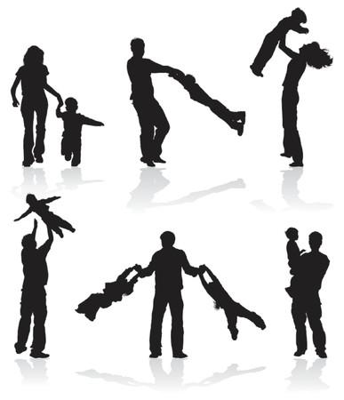 Sagome dei genitori con bambini, illustrazione vettoriale