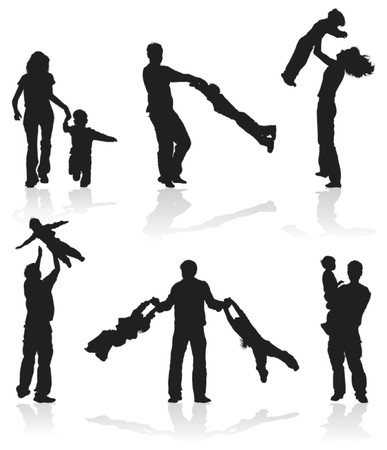 Silhouettes of parents with children, vector illustration Illustration