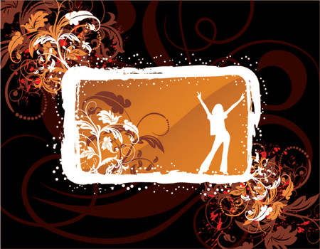 Abstract floral frame on grunge background, element for design, vector illustration Stock Vector - 826074