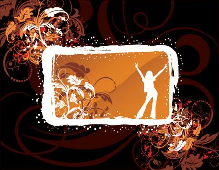 Abstract floral frame on grunge background, element for design, vector illustration