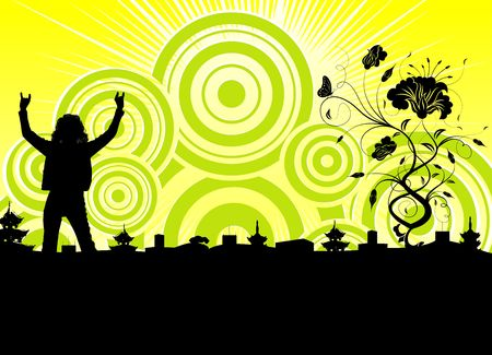 Silhouette woman on abstract background with flower, element for design, vector illustration Stock Illustration - 870086