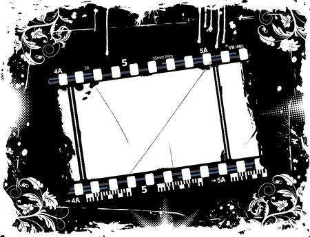 Grunge photographic film frame with flower, element for design, vector illustration illustration