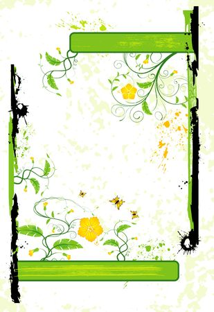leafed: Abstract grunge floral frame with butterflies, element for design, vector illustration