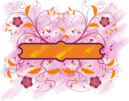 Grunge paint floral frame, element for design, vector illustration Stock Illustration - 873504