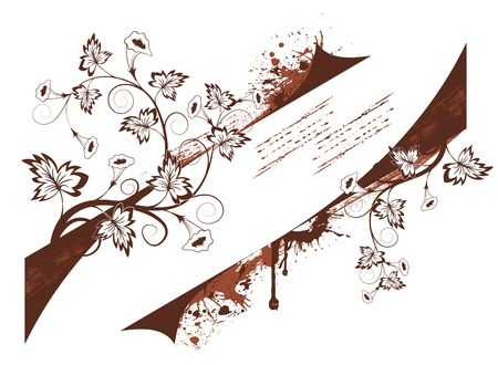 Grunge paint floral frame, element for design, vector illustration Stock Illustration - 873509