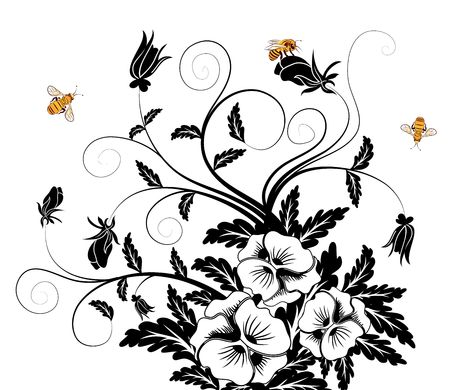 Bouquet of pansies with bee, element for design, vector illustration