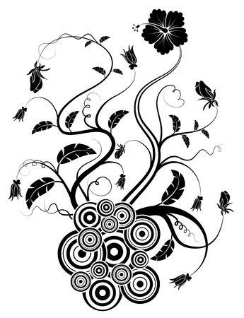 Silhouette abstract flower, element for design, vector illustration Stock Illustration - 873522
