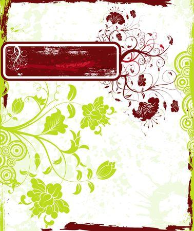 Abstract grunge floral frame, element for design, vector illustration Stock Illustration - 873533
