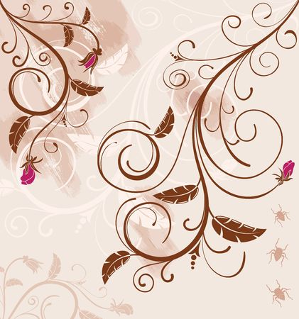 Grunge paint floral background with bug, element for design, vector illustration