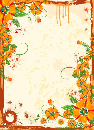 leafed: Abstract grunge floral frame with bug, element for design, vector illustration Stock Photo