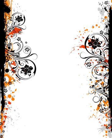 Abstract grunge floral frame, element for design, vector illustration