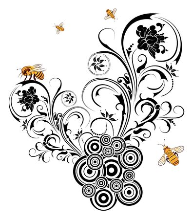 Silhouette abstract flower with retro circles and bee, element for design, vector illustration Stock Illustration - 875411