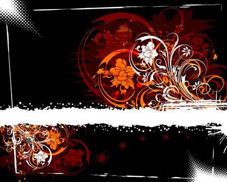 Abstract grunge floral frame with bug, element for design, vector illustration Stock Illustration - 875412