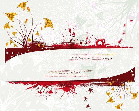 Grunge paint floral background with bug, element for design, vector illustration Stock Illustration - 875416