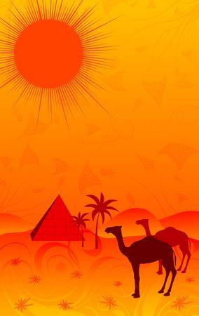Desert with camels, element for design, vector illustration illustration
