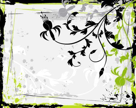 Abstract grunge floral frame, element for design, vector illustration Stock Illustration - 878138