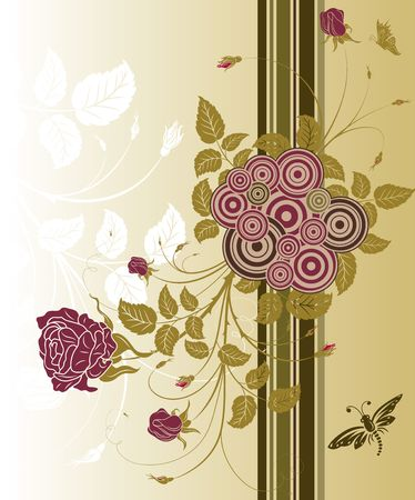 Abstract floral background with circles and butterfly, element for design, vector illustration