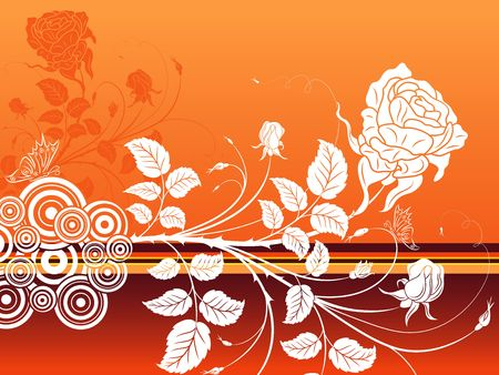 Abstract floral background with butterfly, element for design, vector illustration Stock Illustration - 880998