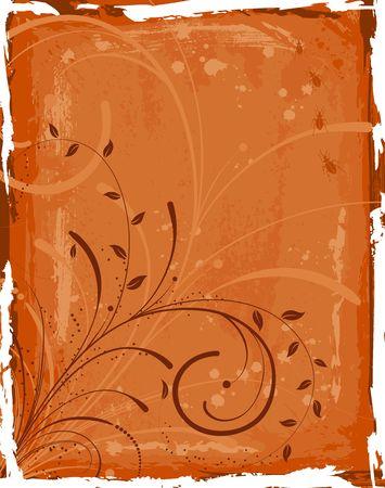 Abstract grunge floral frame with bug, element for design, vector illustration illustration