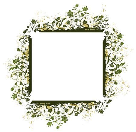 Abstract grunge floral frame, element for design, vector illustration