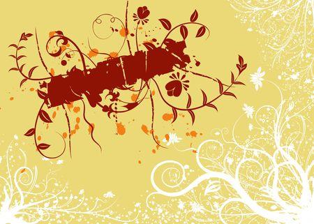 Abstract grunge floral frame, element for design, vector illustration Stock Illustration - 887674