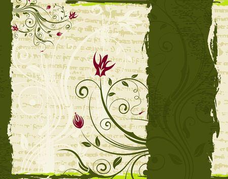 Abstract paint grunge floral frame, element for design, vector illustration Stock Illustration - 919037