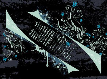 Abstract paint grunge floral frame, element for design, vector illustration