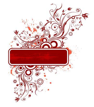 Abstract paint grunge floral frame, element for design, vector illustration Stock Illustration - 920622