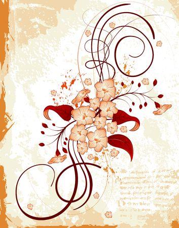 Abstract paint grunge floral frame, element for design, vector illustration Stock Illustration - 920624
