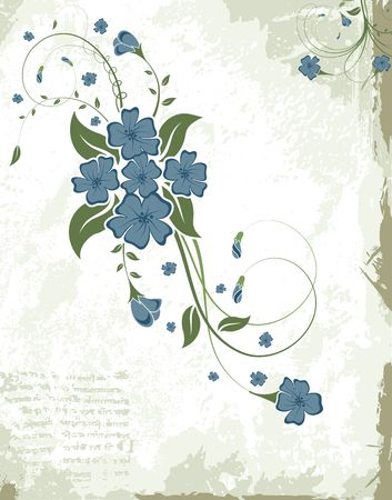 leafed: Abstract paint grunge floral frame, element for design, vector illustration