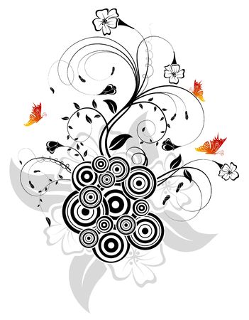 Silhouette abstract flower with retro circles and butterfly, element for design, vector illustration Stock Illustration - 923484