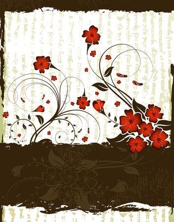 Abstract grunge floral frame, element for design, vector illustration Stock Illustration - 929688