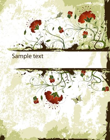 leafed: Abstract grunge floral frame with butterfly, element for design, vector illustration