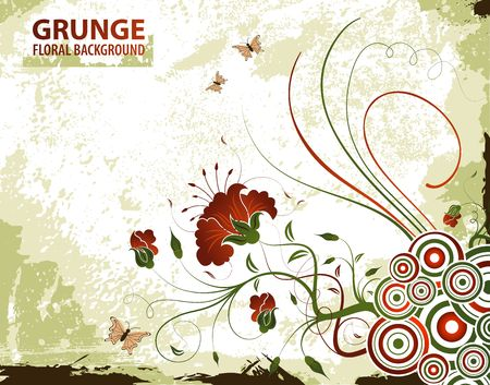 Grunge paint floral background with butterfly, element for design, vector illustration Stock Illustration - 935075