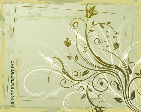 leafed: Abstract grunge floral frame, element for design, vector illustration