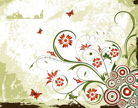 Grunge paint floral background with butterfly, element for design, vector illustration Stock Illustration - 948064
