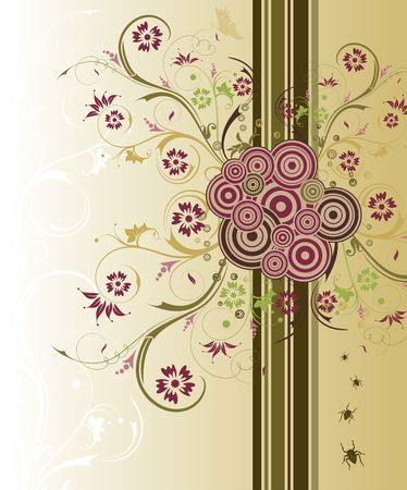 Abstract floral chaos with bug & butterfly, element for design, vector illustration Stock Illustration - 948065
