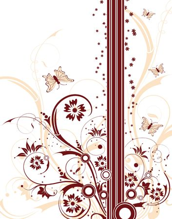 Abstract floral background with circles & butterfly, element for design, vector illustration Stock Illustration - 948069