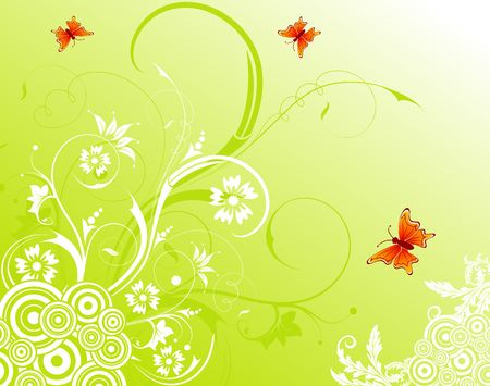 Abstract floral chaos with butterfly, element for design, vector illustration Stock Illustration - 948072