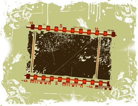 Grunge photographic film frame with flower & butterfly, element for design, vector illustration illustration